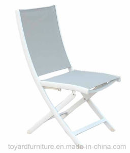 Groovy Outdoor Indoor Office Use Patio Aluminum Folding Chair With Sling Textilene Back White Finish Machost Co Dining Chair Design Ideas Machostcouk