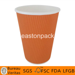 12oz Hot Resisting Ripple Coffee Paper Cups with Lids pictures & photos