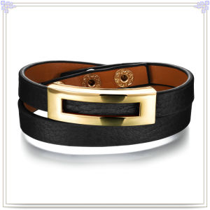 Stainless Steel Jewelry Leather Jewelry Leather Bracelet (LB291)