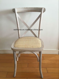 Cross Back Chair, Rattan Seat, Limewash Color pictures & photos
