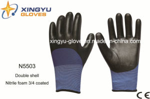 Polyester Double Shell Nitrle Foam Safety Work Gloves (N5503) pictures & photos
