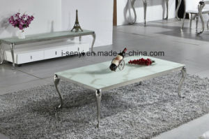Living Room Furniture Alternative White Marble Black Tempered Gl Top Stainless Steel Coffee Table
