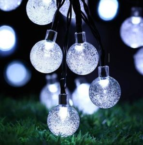 solar powered globe string lights 30 led crystal ball christmas fairy string light for outdoor xmas - Solar Powered Outdoor Christmas Decorations