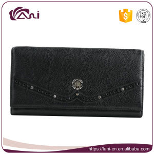 Wallet Women PU Leather, Black Women Wallet, Slim Long Purse pictures & photos