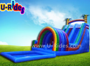 Colorful coconut tree water slide inflatable bouncer slide inflatable wet dry for advertising pictures & photos