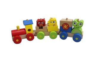 Wooden Block Train Toy with 3 Carriage for Kids pictures & photos