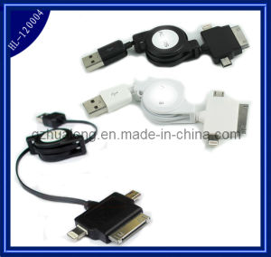 Retractable 3 in 1 USB Data Cable for iPhone5 / HTC  (HL-120004)