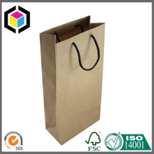 Fashion Brown Kraft Paper Bag for Wine Carrier