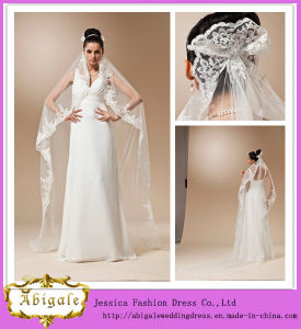 New Elegant Ivory Two-Layer Middle Length Tulle Ribbon Edge Long Wedding Veil 2014 Yj0127