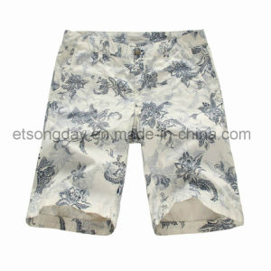 New Design Flower Printed 100% Cotton Men′s Shorts (GDS-18A) pictures & photos