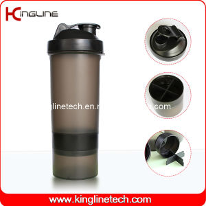 600ml plastic protein shaker bottle with 1 container on battom and filter ,BPA free (KL-7004B) pictures & photos