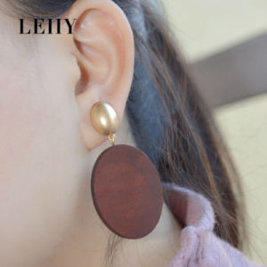 Latest Fashion Jewelry Oval Brown Natural Wood Dangle Drop Earrings