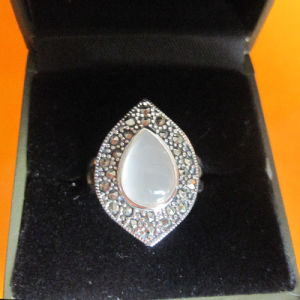 925 Vintage Sterling Silver Marcasite Ring with Opal (JA034)