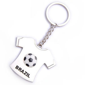 Promotional Brazil Gift Sport Customized Metal T-Shirt Football Keyring (F1191)