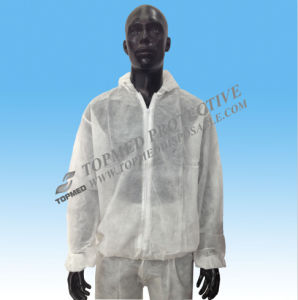 Disposable Nonwoven Lab Coat with Hook & Loop and Pocket pictures & photos