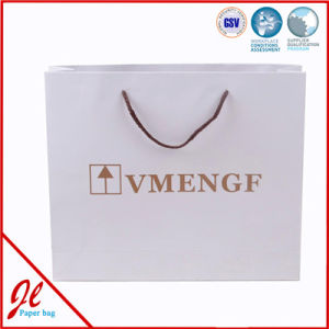 Top Quality Custom Logo Printed Boutique Shopping Paper Bag with Blue Nylon Rope pictures & photos