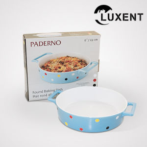 Top Quality Porcelain Round Colored Baking Tray with The Ears