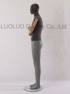 High Quality Linen Wrapped Male Mannequin with Wooden Arms
