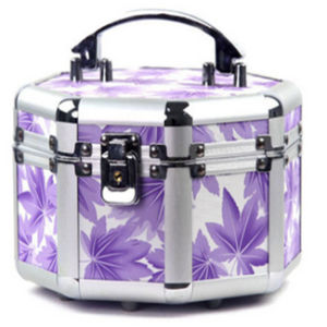 Hx-Hzx045 Purple Lilies Pattern Octagon Makeup Box Case pictures & photos