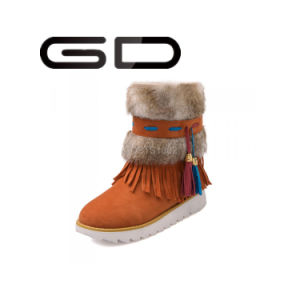 Gd Women Winter Leather Calf Boots with Side Suede Fringe Big Size Snow Boot