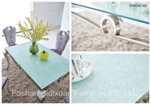 2016 Modern Stylish Glass Top Dining Table with Stainless Steel Frame Sj807 pictures & photos