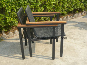 Outdoor Chair PE Rattan Furniture Chair Teak Armrest Chair Beach Stackable Chair (YTA213) pictures & photos