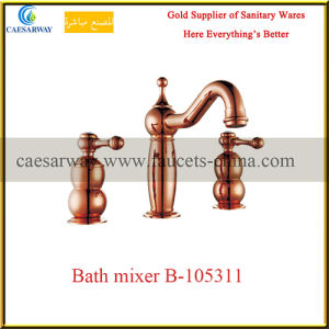 Sanitary Ware Rose Golden Bathroom 3 Way Wash Bathtub Faucet pictures & photos