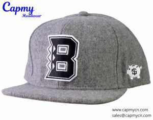 New Design Grey Wool/Blend Material Snapback Cap Hat