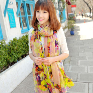The Factory Custom Yellow Silk Crepe Georgette X-Large Scarf