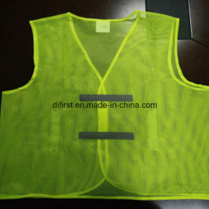 Basic Safety Vest Flu Yellow 100%Polyester Mesh pictures & photos