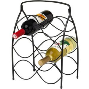 Neko 6 Bottles Black Metal Wine Rack