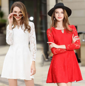 Factory Best Sale Slim Fashion A-Line Plain Lace Long Sleeves Sexy Short Lady′s Dress
