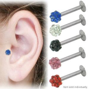 Multi Color Cz Gem Disco Ball Ferido Lip Labret Ring Body Piercing Jewelry