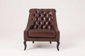 Top Quality Brown Color Vintage Chesterfield Leather Sofa pictures & photos