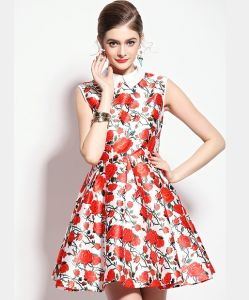 OEM High Quality Flower Print Sleeveless Summer Women Dress pictures & photos