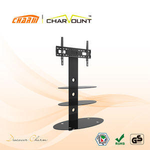 Round 3 Tiers Tempered Glass LED TV Stand Design (CT-FTVS-J202B) pictures & photos