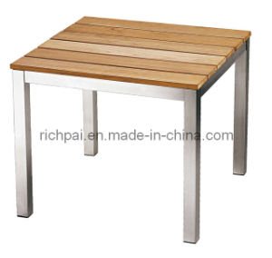 Stainless Steel & Teak Side Table (RPT001)
