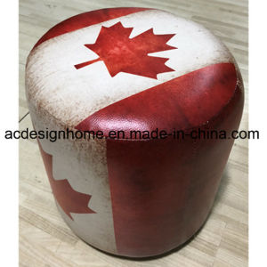Hot Sale Home Furniture Antique PU Leather Wooden Ottoman with Great  British American Canada Country Flags in Round Shape