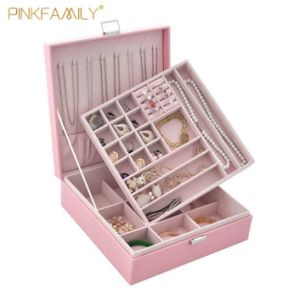 China New Arrival Two Layer Lint Jewelry Box Organizer Display Storage Case With Lock For Women Girls China Jewelry Display Case And Box For Women Price