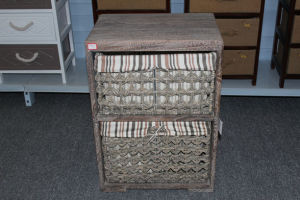 Wooden cabinet with 2 cornleaf drawer & lining