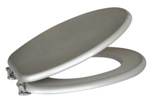 "18.5"" Silver-Colored MDF Toilet Seat"