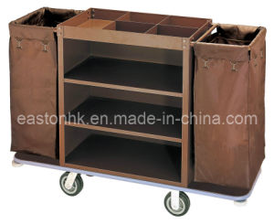 Tow Linen Bag Housekeeping Trolley with Amenity Holder pictures & photos