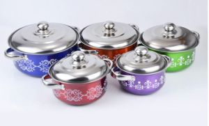 5 Pieces Colorful Stainless Steel Stock Pot with Steel Handle (JX-012)