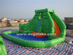 Green Inflatable Dual Lane Water Slide for Kids