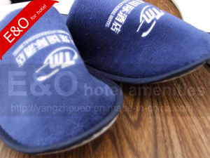 Semi-Finished EVA Sole Cotton Fabric Woven Disposable Hotel Slippers pictures & photos