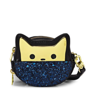 Designer Fashion Cat Glitter European Style Coin Purse Wristlet Bag