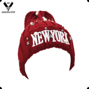 New York Embroidery Design Winter Knitting Hat with Accessory Beads