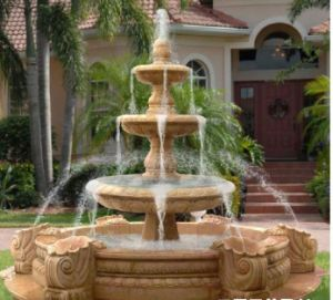 Sandstone Sculpture Water Spray Square Fountain pictures & photos
