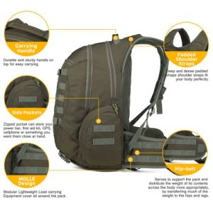 New Arrival 35L Army Green 600d Water-Resistant Military Tactical Backpack pictures & photos