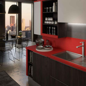 Handle-Free Black and Red Matt Lacquer Wooden Kitchen Cabinet pictures & photos